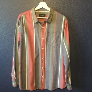 PACSUN Multicolored Button Up Long Sleeve Shirt
